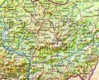 Geografisk översikt av Nigeria med viktiga städer Royaltyfria Foton