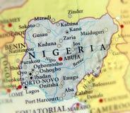 Geografisk översikt av Nigeria med viktiga städer Arkivfoto