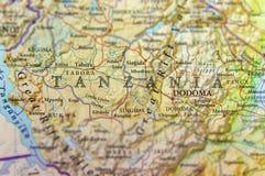 Geografisk översikt av Tanzania med viktiga städer Fotografering för Bildbyråer