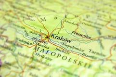 Geografisk översikt av Tjeckien för europeiskt land med Krakow ci royaltyfria bilder