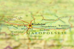 Geografisk översikt av Tjeckien för europeiskt land med Krakow ci arkivfoto