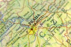 Geografisk översikt av Tjeckien för europeiskt land med Praha cit fotografering för bildbyråer