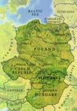 Geografisk översikt av Tjeckien, Polen, Slovakien och Ungern för europeiskt land arkivbild