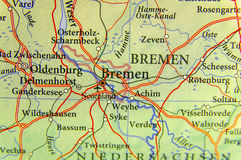 Geografisk översikt av Tyskland för europeiskt land med den Bremen staden royaltyfria foton