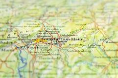 Geografisk översikt av Tyskland för europeiskt land med den Frankfurt staden arkivfoton