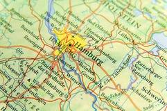 Geografisk översikt av Tyskland för europeiskt land med den Hamburg staden fotografering för bildbyråer