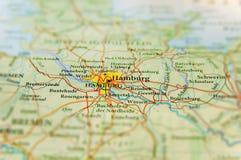 Geografisk översikt av Tyskland för europeiskt land med den Hamburg staden arkivbilder