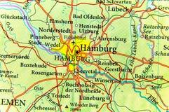 Geografisk översikt av Tyskland för europeiskt land med den Hamburg staden royaltyfri bild