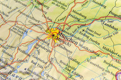 Geografisk översikt av Tyskland för europeiskt land med den Munich staden royaltyfri fotografi
