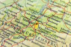 Geografisk översikt av Tyskland för europeiskt land med den Stuttgart staden royaltyfri fotografi