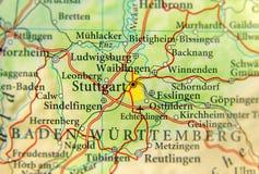 Geografisk översikt av Tyskland för europeiskt land med den Stuttgart staden arkivbilder