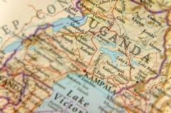 Geografisk översikt av Uganda med viktiga städer Fotografering för Bildbyråer