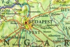 Geografisk översikt av Ungern för europeiskt land med den Budapest staden royaltyfria foton