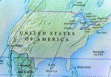Geografisk översikt av USA landet med viktiga städer Royaltyfri Bild