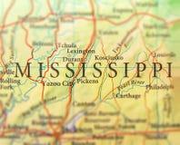 Geografisk översikt av USA-staten Mississippi med viktiga städer arkivfoto