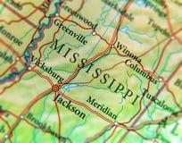 Geografisk översikt av USA-staten Mississippi med viktiga städer royaltyfri fotografi
