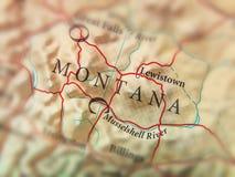 Geografisk översikt av USA-staten Montana med viktiga städer Arkivbild