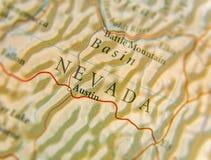 Geografisk översikt av USA-staten Nevada med viktiga städer Royaltyfri Fotografi