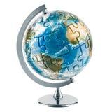 Geografiskt jordklot av jord från pussel framförande 3d vektor illustrationer