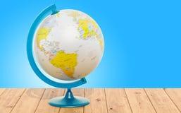 Geografiskt jordklot av jord på trätabellen framförande 3d stock illustrationer