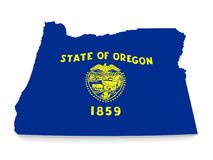 Geographic border map and flag of Oregon state isolated on a white background, 3D rendering. 3D map of the US state of Oregon bearing its official flag, rendered Stock Photo