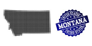 Composition of Halftone Dotted Map of Montana State and Grunge Stamp Watermark royalty free illustration