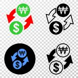 Composition of Gradiented Dotted Dollar Exchange Korean Won and Grunged Stamp. Geographic collage of dotted dollar exchange korean won and grunge seal. Mosaic vector illustration