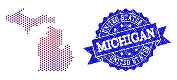 Collage of Gradiented Dotted Map of Michigan State and Grunged Stamp royalty free illustration