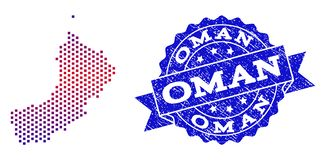 Collage of Gradiented Dotted Map of Oman and Grunged Stamp royalty free illustration