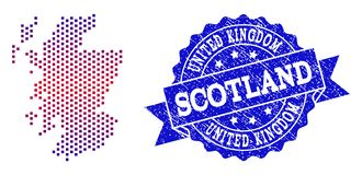 Collage of Gradiented Dotted Map of Scotland and Grunged Stamp vector illustration