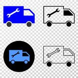 Composition of Gradiented Dotted Service Van and Grunged Stamp. Geographic collage of dotted service van and grunge stamp. Mosaic vector service van designed vector illustration