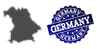 Composition of Halftone Dotted Map of Germany and Grunge Stamp Watermark stock illustration