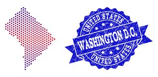 Composition of Gradiented Dotted Map of District Columbia and Grunged Stamp royalty free illustration