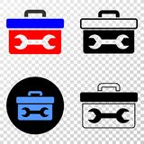 Collage of Gradiented Dotted Wrench Toolbox and Grunged Stamp royalty free illustration