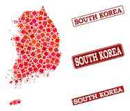 Mosaic Map of South Korea and Distress School Seal Collage vector illustration