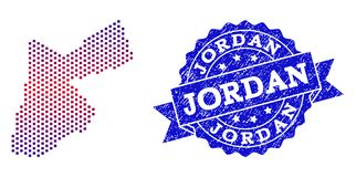 Composition of Gradiented Dotted Map of Jordan and Grunged Stamp stock illustration
