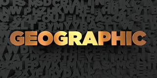 Geographic - Gold text on black background - 3D rendered royalty free stock picture Royalty Free Stock Images