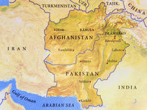 Geographic map of Afghanistan and Pakistan with important cities Stock Images