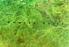 Geographic map of Amazon Basin part of South America Stock Images