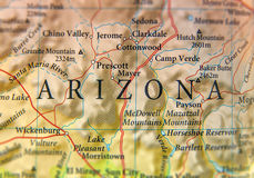 Geographic map of Arizona state close. Up stock photos