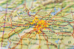 Geographic map of Atlanta close. Up stock photo