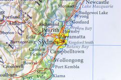 Geographic map of Australia with Sydney city. Close Royalty Free Stock Photo
