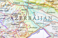 Geographic map of Azerbaijan with important cities Royalty Free Stock Photography