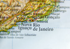 Geographic map of Brasil with Rio De Janeiro city. Close Royalty Free Stock Photos