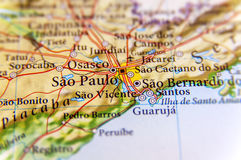 Geographic map of Brazil with capital Sao Pulo city. Close Royalty Free Stock Images