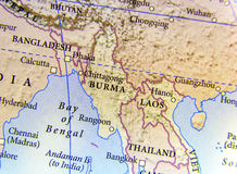 Geographic map of Burma, Bangladesh, and Laos country with important cities. Close royalty free stock image