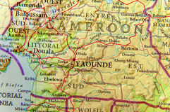 Geographic map of Cameroon with important cities. Close royalty free stock photography