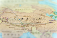 Geographic map of China country with important cities Royalty Free Stock Photos