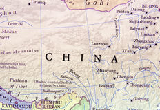 Geographic map of China with important cities Stock Image