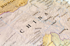 Geographic map of China with important cities Royalty Free Stock Images